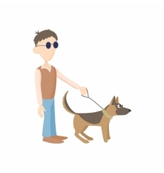 Blind man with dog guide icon cartoon style vector