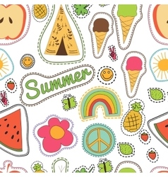 Happy embroidery colorful summer patches pattern vector
