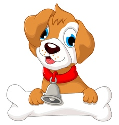 Funny puppy cartoon holding bone vector