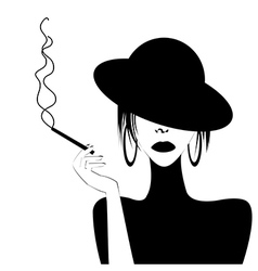 Abstract portrait of a sexy woman smoking vector image