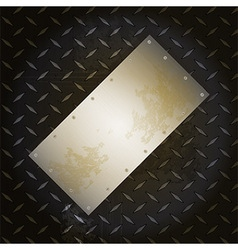 Black metallic diamond plate with grunge brushed vector