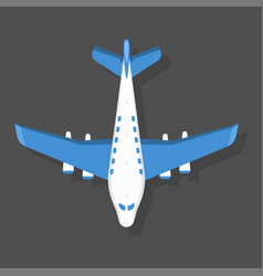 blue airplane top view and vector image