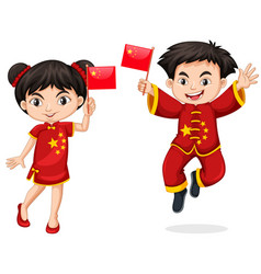 chinese kids holding flag vector image