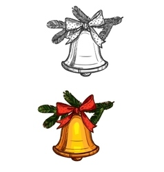 Christmas bell isolated sketch icon vector