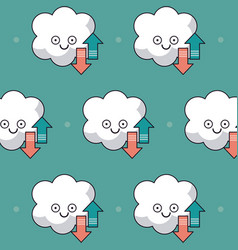 Colorful background with pattern of animated cloud vector