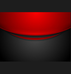 Contrast red and black wavy corporate background vector