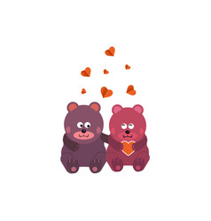 cute animal couple holding hand with hearts vector image