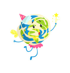 Cute cartoon earth planet wearing party hat and vector