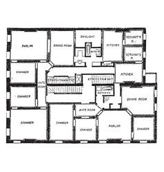 Double flat floor plan two bedroom apartments vector