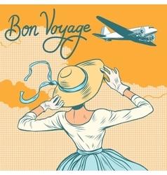 Girl passenger plane bon voyage vector