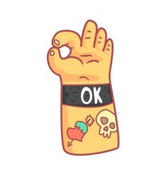 hand with tattoos showing ok sign colorful vector image