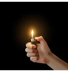 Hand with the lighter isolated vector