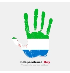 Handprint with the Flag of Sierra Leone in grunge vector image