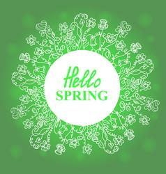 Hello spring floral doodles wreath vector