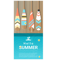 Hello summer background with canoe paddles vector