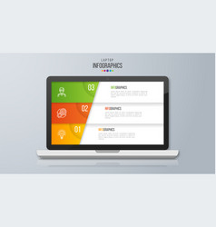 Infographic design on the laptop screen 3 option vector