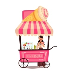 Mobile street seller with ice cream vector