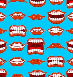 Mouth emotions seamless pattern Red lips ornament vector image vector image