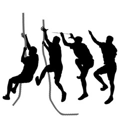 Set black silhouette rock climber on white vector