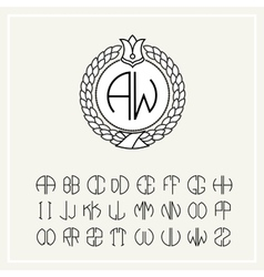 Set for creating letters monogram wreath vector