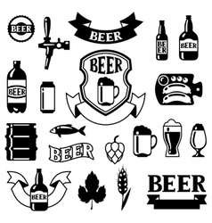 Set of badges and labels with beer objects for vector