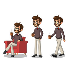 set of hipster businessman making a break vector image vector image