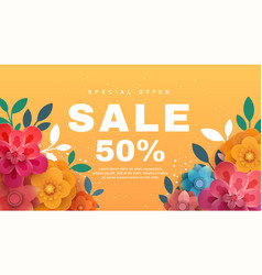 Spring sale banner with paper flowers on a yellow vector