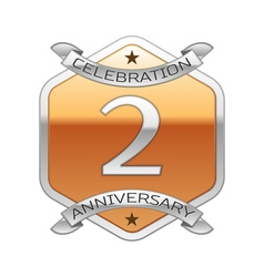 Two years anniversary celebration silver logo with vector