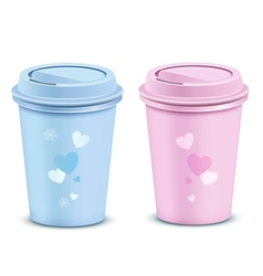 valentines coffee cups vector image vector image