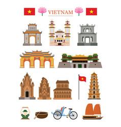 vietnam landmarks architecture building object set vector image vector image
