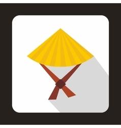 Vietnamese hat icon flat style vector