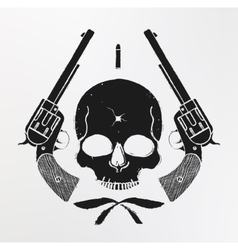 Wild west skull and pistols emblem vector
