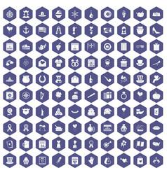 100 calendar icons hexagon purple vector