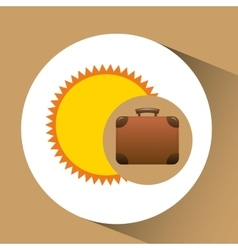 suitcase retro sun concept travel design graphic vector image