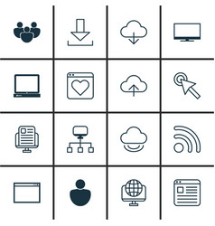 set of 16 online connection icons includes login vector image