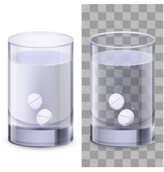 Glass of water and pills on white for design vector