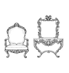 Imperial baroque armchair and dressing table vector