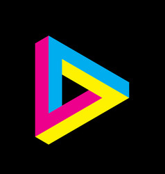 penrose triangle icon in cmyk colors geometric 3d vector image