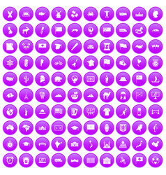 100 geography icons set purple vector