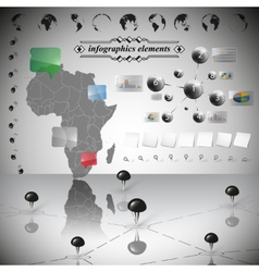 Africa map different icons and information vector