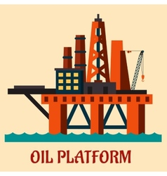 Cartoon sea oil platform vector