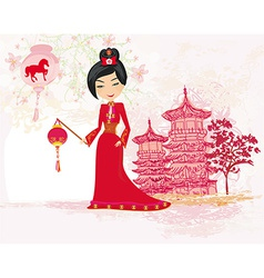 Geisha celebrated chinese new year vector