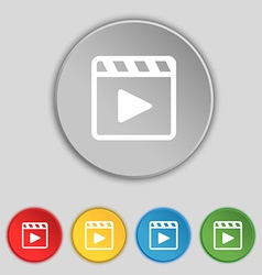 Play video icon sign symbol on five flat buttons vector