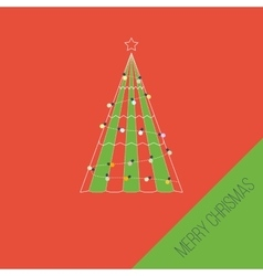 Green stylized christmas tree christmas greeting vector