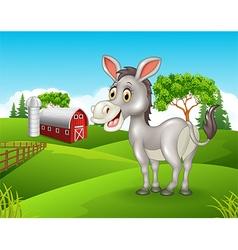 Cartoon happy donkey in the farm vector image