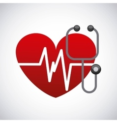 Heart and stethoscope icon medical and health vector
