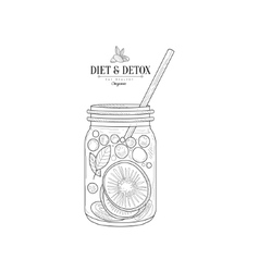 Fruit smoothie in a jar hand drawn realistic vector