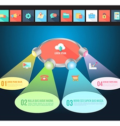 Abstract light 3D Infographic with flat icons vector image