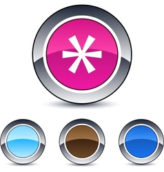 Asterisk round button vector image