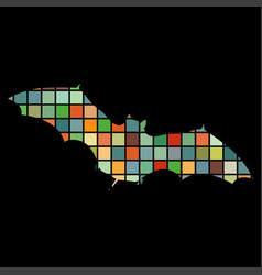 bat mammal color silhouette animal vector image
